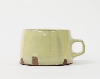 Yellow Flat Bottom Dip Mug. One finger handle. 12oz. (56)