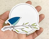 Full Moon Bird MAGNET. 4 inches. Teal blue bird, sun. Melissa Maya. Weatherproof vinyl magnet.