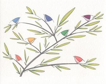 Rainbow Bird Print. 8x10 or 11x14.