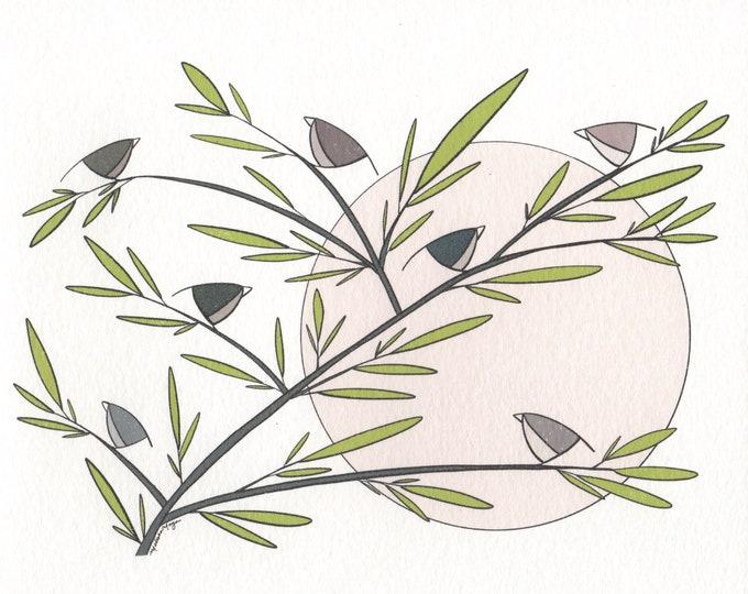 Birds Noir Print. 8x10 or 11x14.