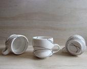 Black and White Wandering Line Tea or Coffee Mug. Modern graphic design. Handmade ceramic porcelain mug. READY TO SHIP.