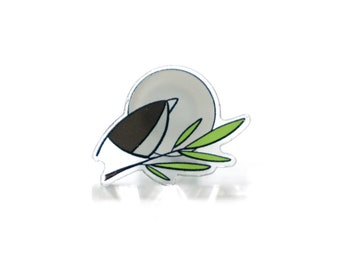 Small Acrylic Grey Bird Pin. 1 inch.