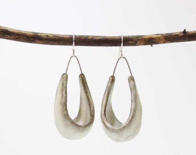"""51. Toast Hanging Basket Earrings. Sterling Silver Hooks. 2 1/4""""h x 7/8""""w"""