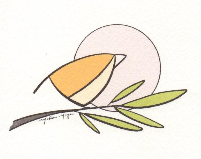 Small Yellow Bird Print. 5x5