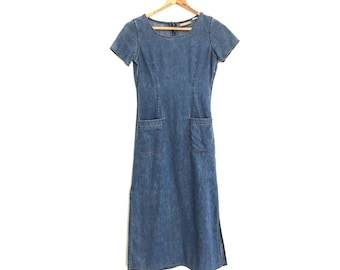 5c249475b7 90s Vintage Long Denim Dress