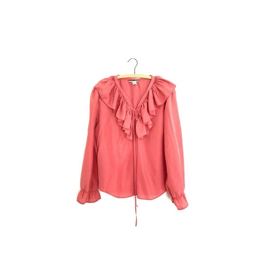 Mauve pink ruffle neck poet blouse