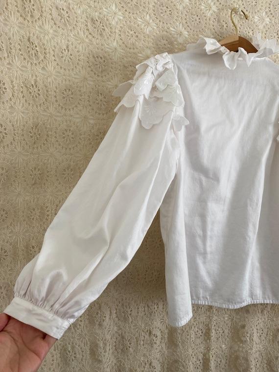 Austrian puff sleeve ruffle blouse - image 6