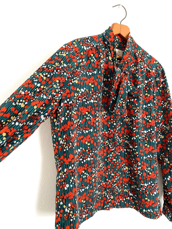 Tulip Print Pussy Bow Blouse Country Sophisticate… - image 3