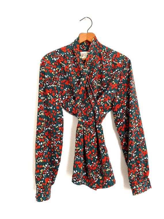 Tulip Print Pussy Bow Blouse Country Sophisticate… - image 10
