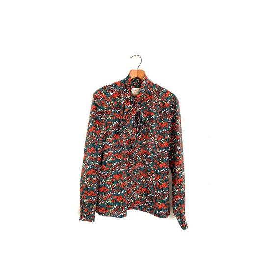 Tulip Print Pussy Bow Blouse Country Sophisticate… - image 1