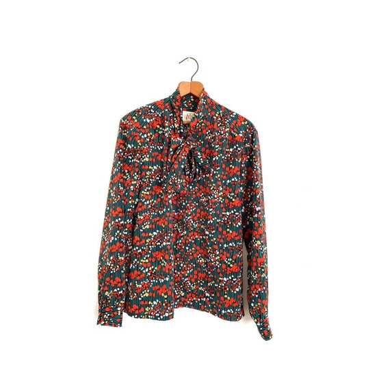 Tulip Print Pussy Bow Blouse Country Sophisticate… - image 2