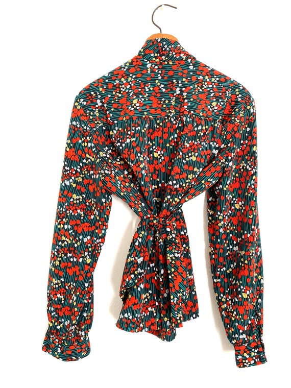 Tulip Print Pussy Bow Blouse Country Sophisticate… - image 5