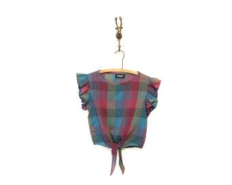 1980s Vintage Ruffled Plaid Crop Top Size Small