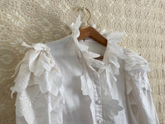 Austrian puff sleeve ruffle blouse - image 2