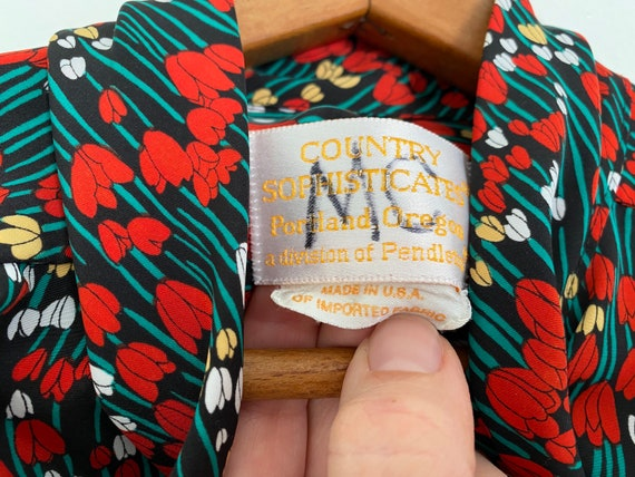 Tulip Print Pussy Bow Blouse Country Sophisticate… - image 6