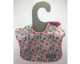 baby girl bib, baby bib, leak proof bib, drool bib, newborn bib, floral bib, shower gift, ready to ship, infant bib
