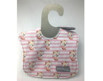 baby girl bib, baby bib, baby fox bib, absorbent bib, leak proof bib, drool bib, three layer bib, ready to ship, fox baby shower