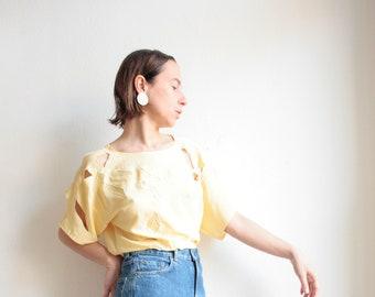 orange unisex loose fit 80s 90s sustainable cloth short sleeve shirt striped Vintage shirt blouse longitudinal stripes