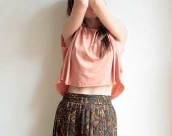 High waist pleated rock, vintage, 70s 80s, midi skirt, Pleated skirt, ethno pattern, Aztec pattern, Ikat pattern,