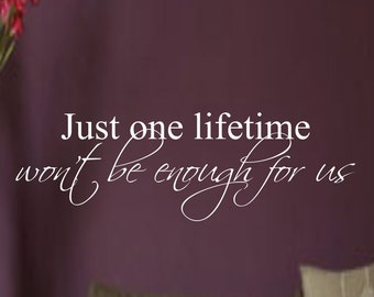 Just One Lifetime Won't Be Enough For Us...vinyl wall decal home decor sticker love art