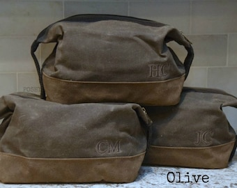Set of  6 Personalized Toiletry Travel Bag for Men  Waxed Canvas Graduation Gift