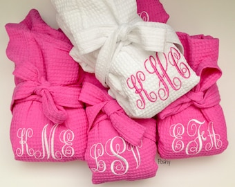 Set of 6 Monogrammed robe Waffle Robe Kimono Spa Robe Personalized bridesmaids gift Embroidered Initial Name