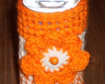 Orange and White Water Bottle Cozy with Crocheted Flower