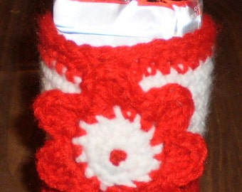 Red and White Water Bottle Cozy with Crocheted Flower