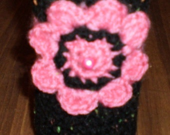 Pink and Black Water Bottle Cozy with Crocheted Flower