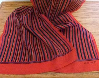 Red Stripe Oblong Silk Scarf by Echo, 1980s