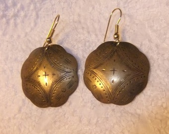 Large Dangling Bohemian Etched Metal Earrings, 1970s