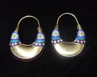 Early Laurel Burch Enamel over Silver Earrings, 1970s