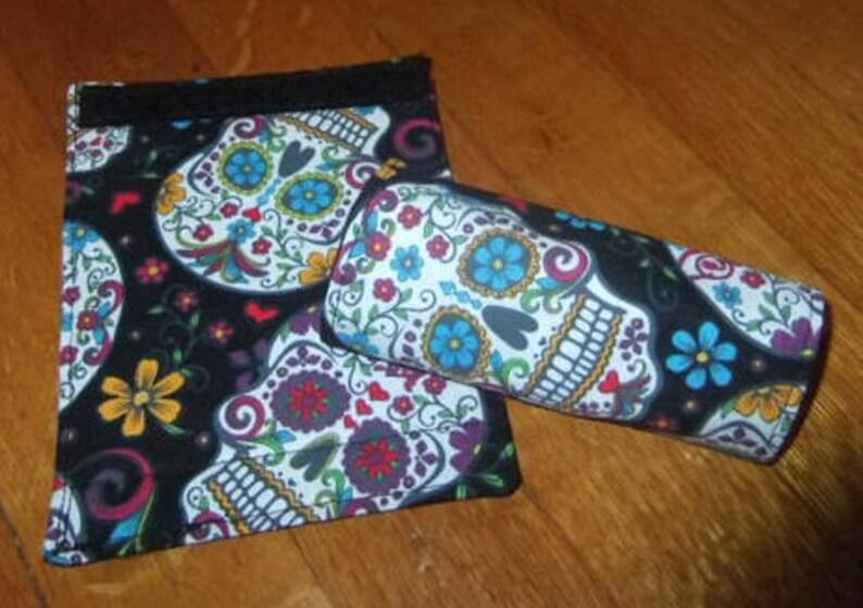 Sugar Skulls Theme Pair of Luggage Handle Wraps