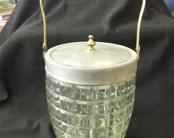 Antique Clear Glass Biscuit Jar with Metal Handle and Lid, Heavy