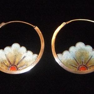 20/% OFF Vintage Thousand Flowers 1970s Cloisonn\u00e9 Enamel Butterfly Hoop Pierced Earrings Sterling Silver 24k Gold Wash