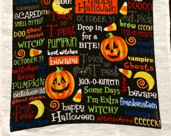 Halloween Sayings Crochet Top Towel (H7)