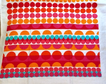 Bright Orange and Red Horizontal  Crocheted Top Towel  (R35)