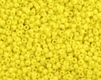 12/0 - 3 cut Toho Opaque Yellow Seed Beads --1/2 Kilo