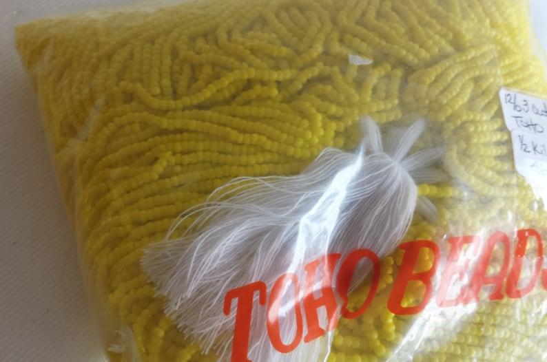 12/0  3 cut Toho Opaque Light Yellow Seed Beads  1/2 kilo image 0