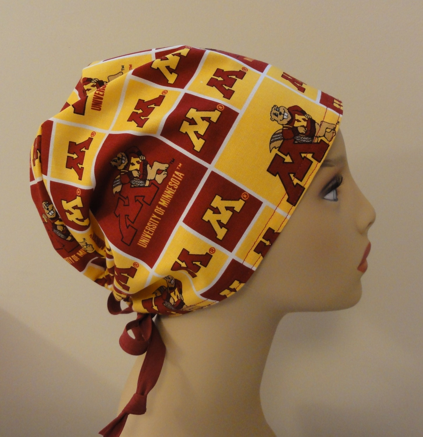 Salzburg Creations Burgundy And Rose Gold Fireworks: Surgical Scrub Hat Made From University Of Minnesota