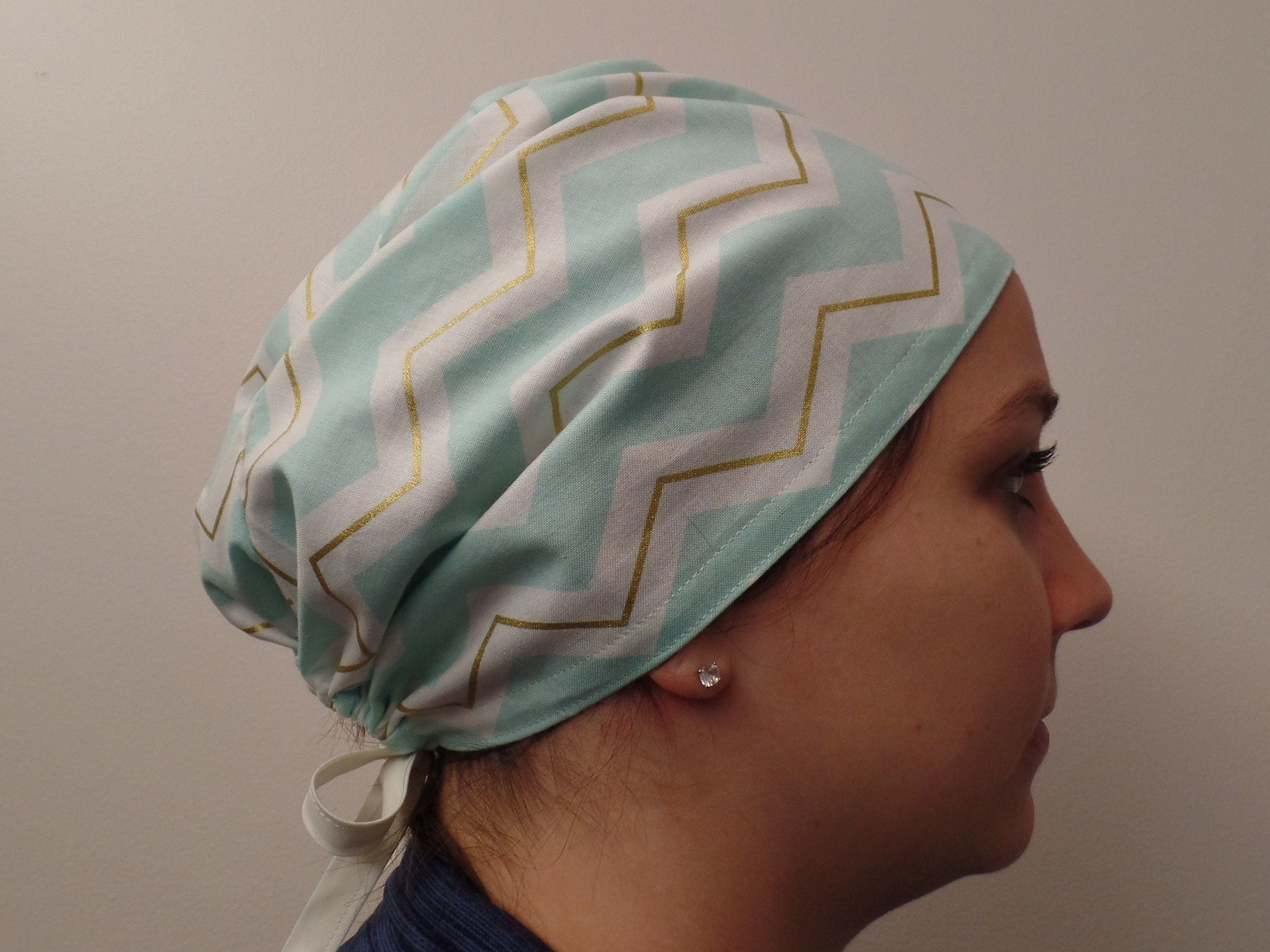 Aqua Gold Cream Chevron Fabric Surgical Scrub Cap Hat Aqua Zigged ...