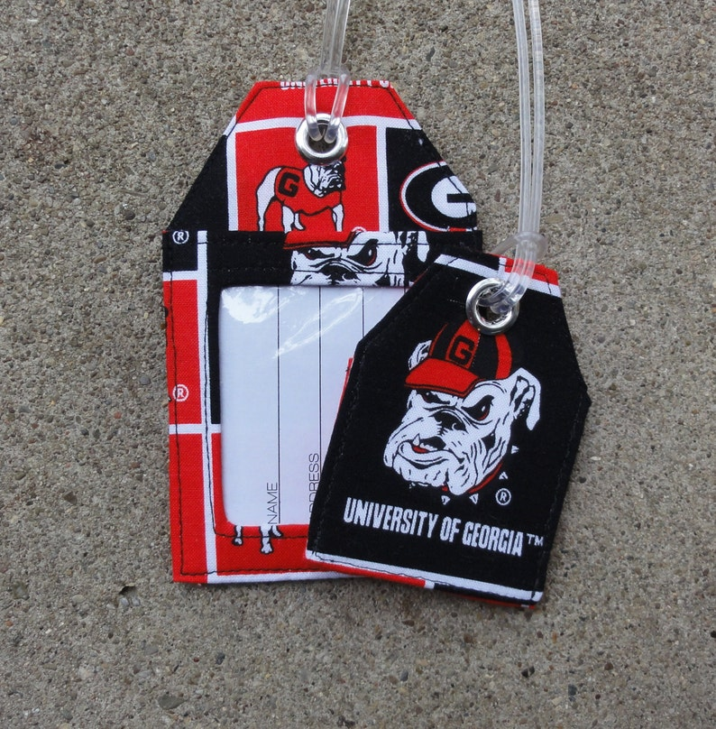 3cc37105c279 Work Badge Protector made from Bulldogs Fabric, Luggage Tags University of  Georgia Bulldogs Fabric Georgia Luggage Large Small Bag Tags