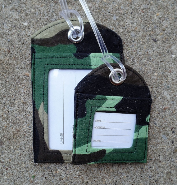 2 pack Personalized Green CamoflaugeLuggage Tag