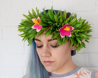 3d6bd406f2 Moana flower crown - child floral headband - pink hibiscus gift little girl  birthday party nursery baby shower - green leafy crown costume