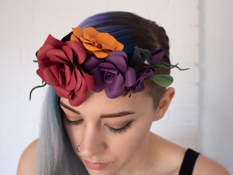 burgundy floral crown greenery colorful floral head piece red rose crown autumn paper flowers red flower crown red rose head band