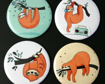 Cute Sloths Fridge Magnet Set of 4 funny iIllustrations