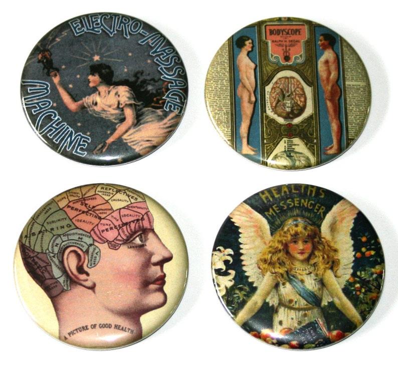 Vintage Medical Ads  Set of 4 Large Fridge Magnets image 0
