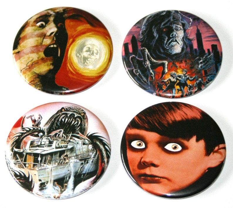 Pulp Horror B Movie Film Magnets  Set of 4 Large Fridge image 0