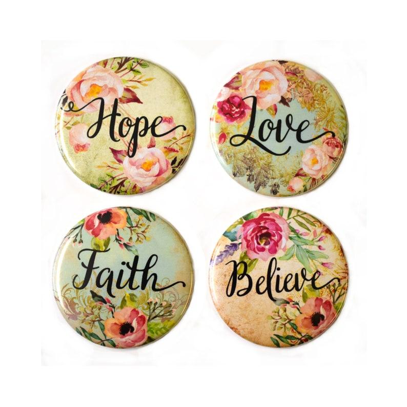 Love Hope Believe Faith  Fridge Magnets Set x4 55mm image 0