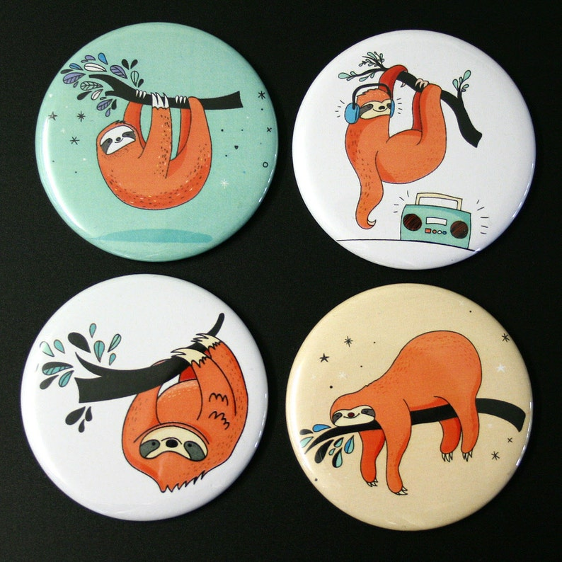 Cute Sloths Fridge Magnet Set of 4 funny iIllustrations image 0